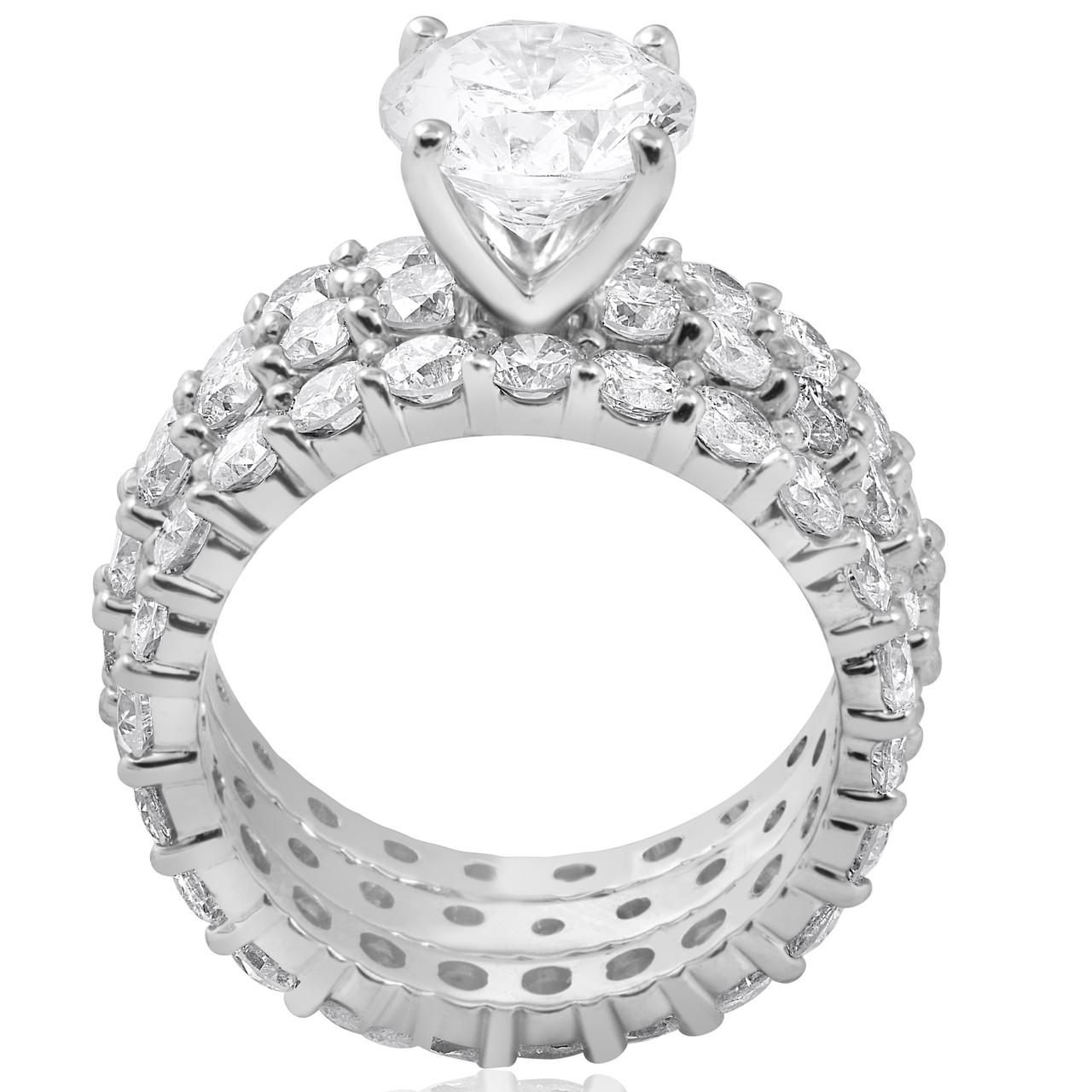 8183fdacc8a 7ct Diamond Engagement Eternity Wedding Ring Set 14k White Gold