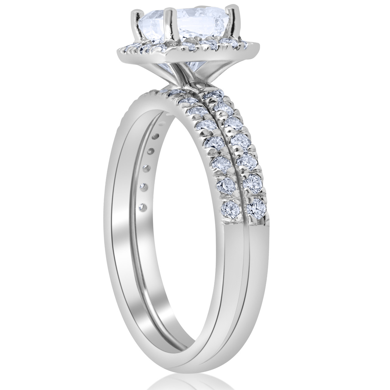1 5 8ct Certified Princess Cut Diamond Engagement Ring Set 14k White Gold E Vs E Vs 1 Vs 2