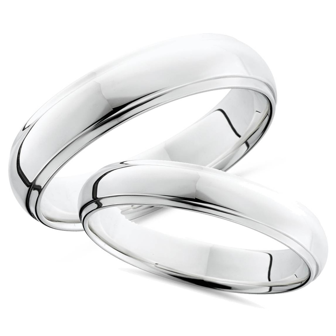 Platinum Matching His Hers Polished Wedding Bands Set Wb4490 Sd3d71ba2asa5ozcloudfront53000589imageswb449011: Matching Platinum Wedding Bands At Reisefeber.org