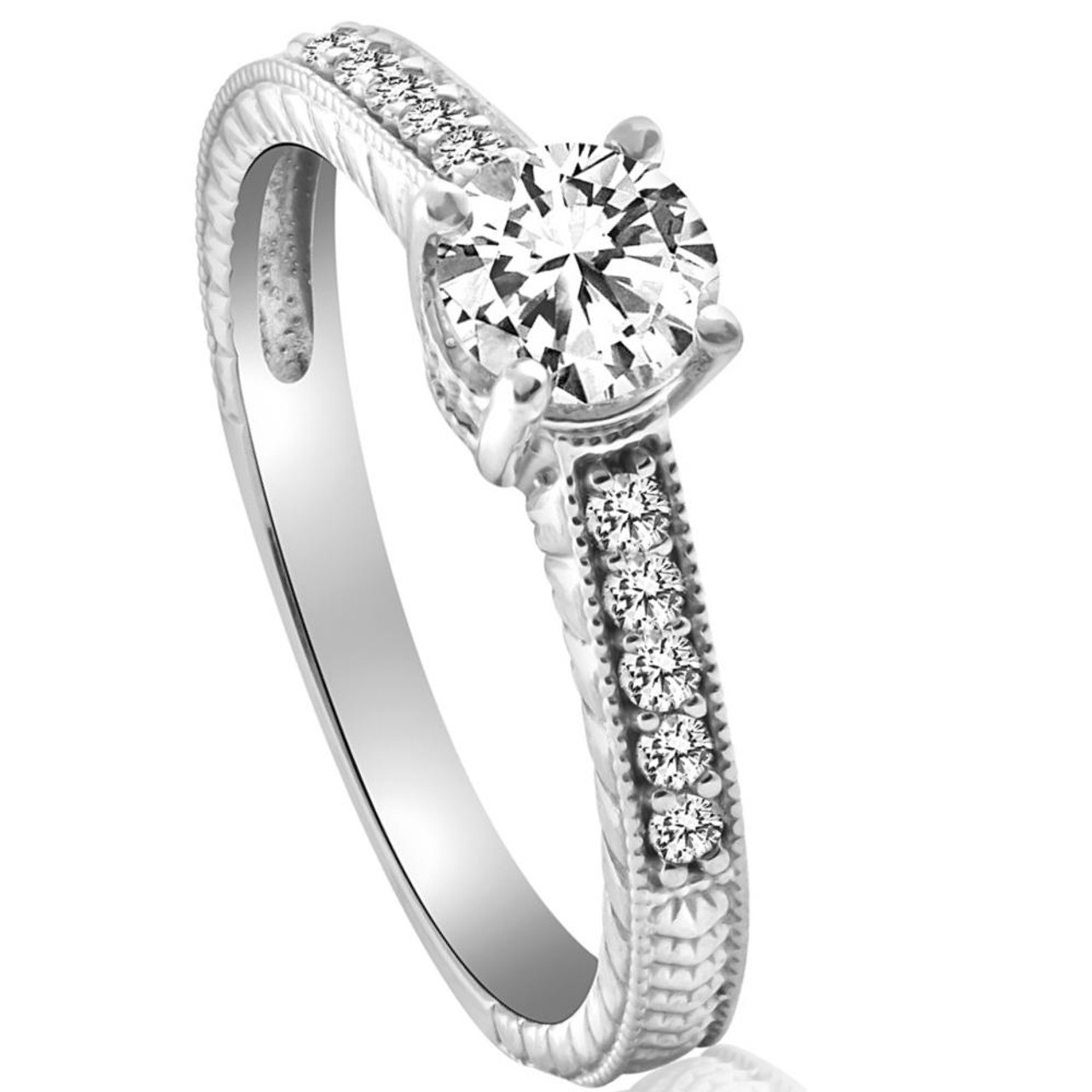 Bright 2.70 Ct Diamond Solitaire 14k White Gold Wedding Ring Size M Fine Jewellery