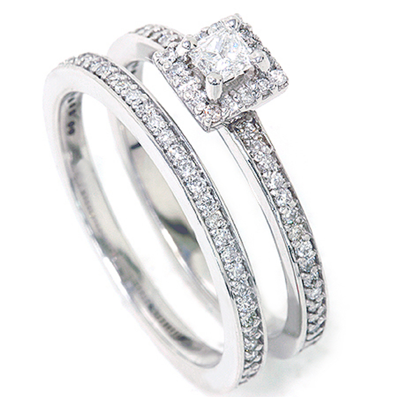 3b4085da4 5/8Ct Princess Cut Diamond Engagement Matching Wedding Halo Ring Set White  Gold