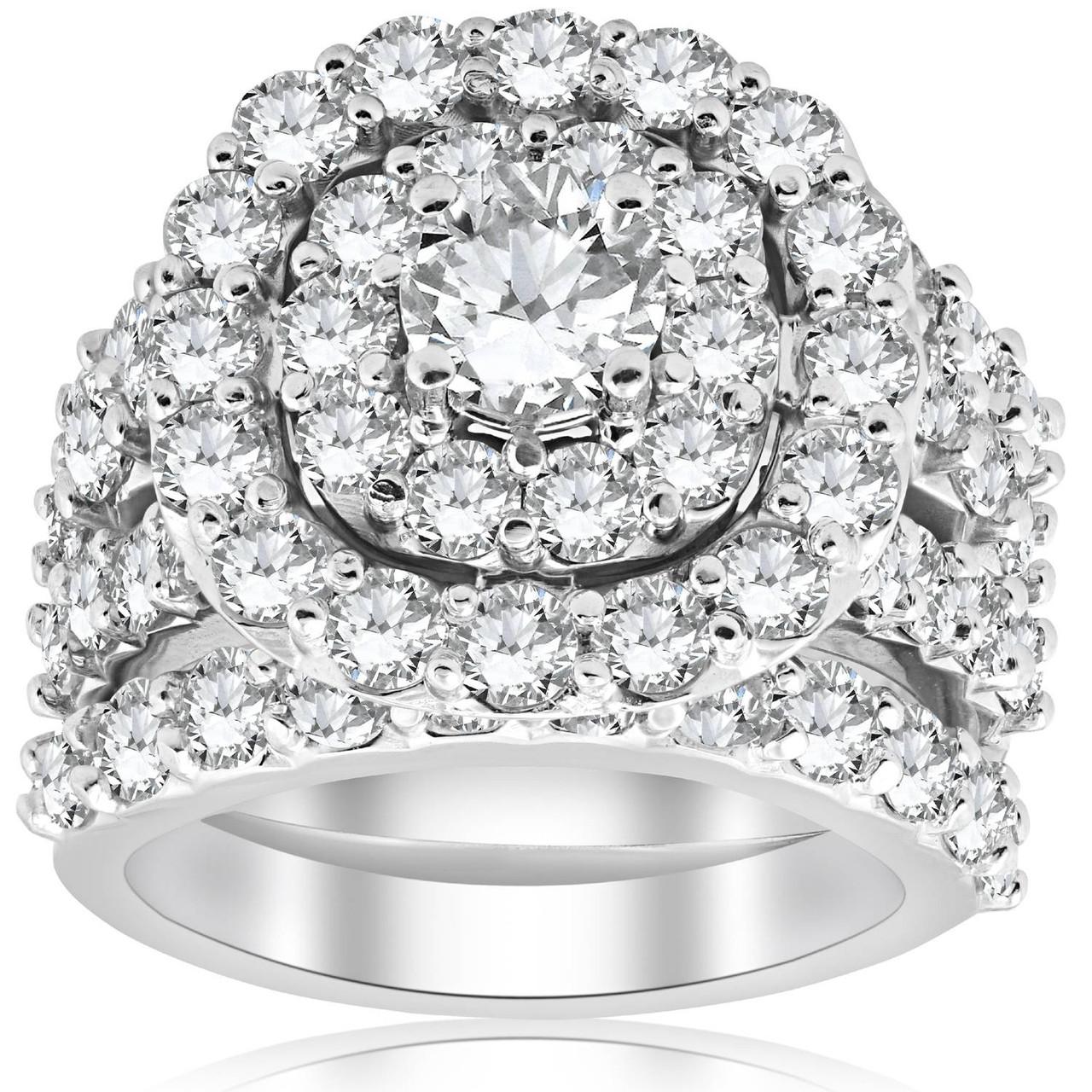 5 Ct Diamond Engagement Cushion Halo Trio Engagement Wedding Ring Set White Gold