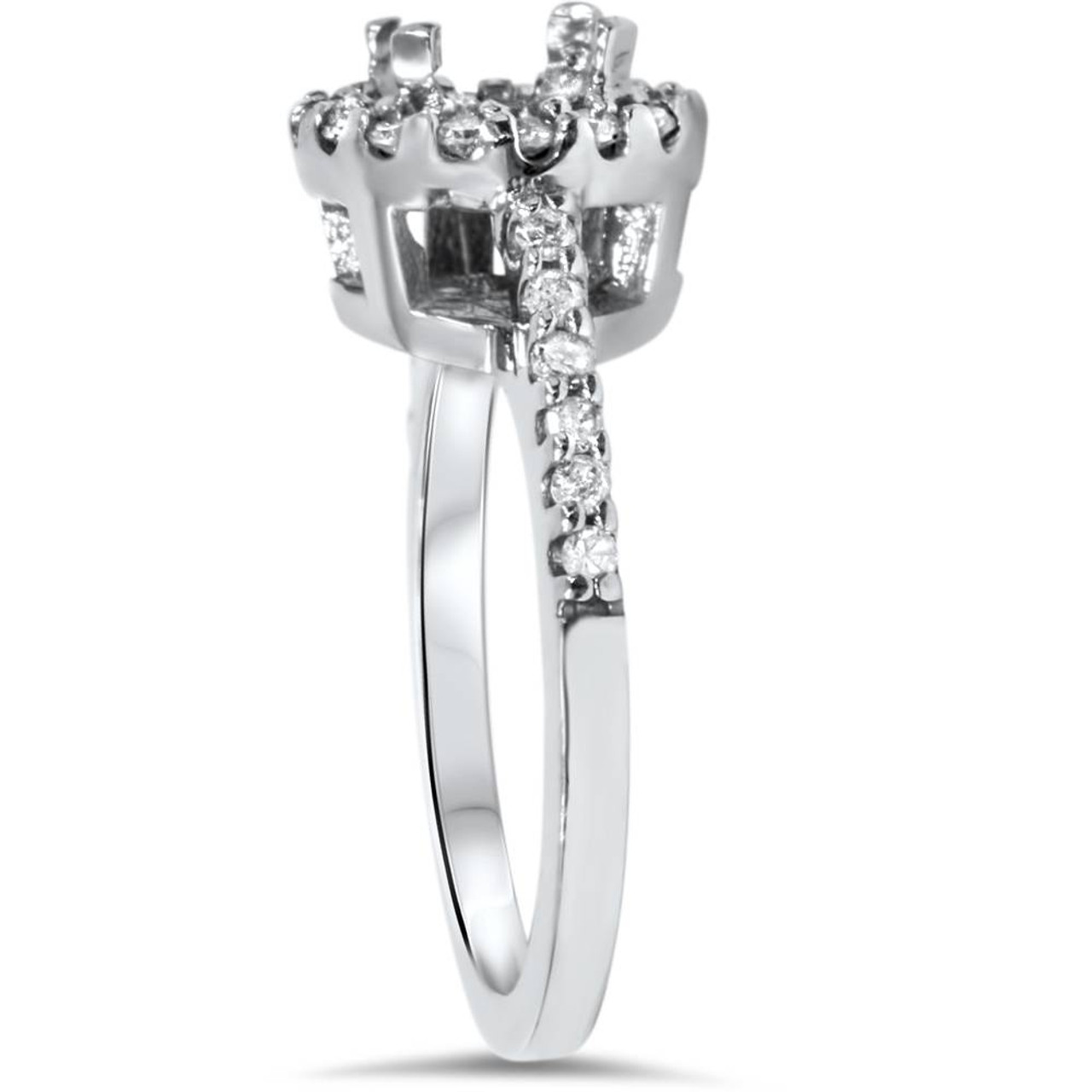 143b86f418c 1 2ct SI Pave Halo Diamond Engagement Ring Setting 14K White Gold