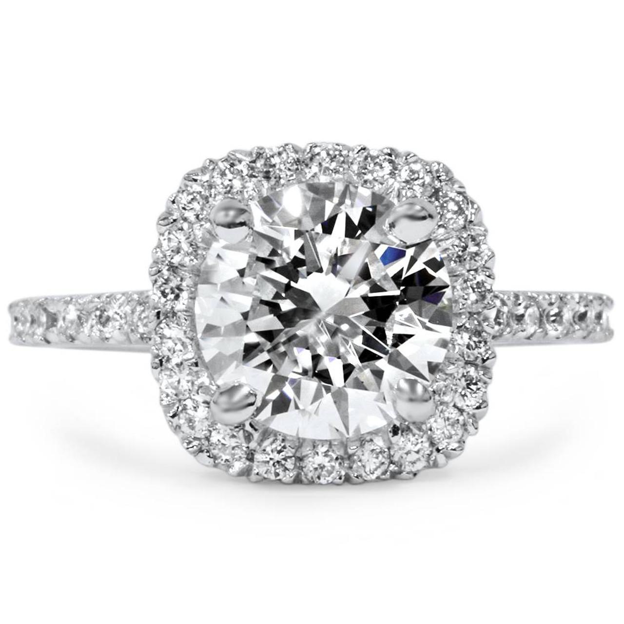 1 3 4 Ct Halo Diamond Engagement Ring Round Cut 14k White Gold