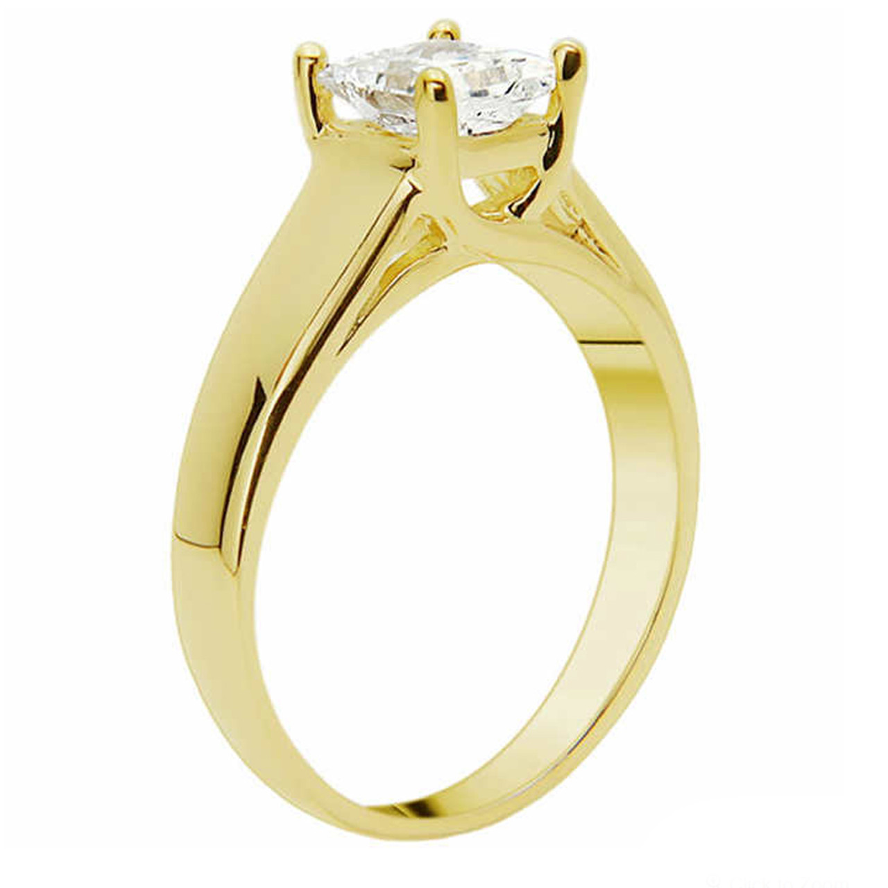 790a12a2576 1 CT Princess Cut Diamond Solitaire Engagement Ring 14k Yellow Gold