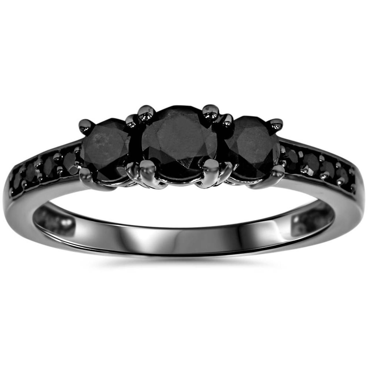 1 1 5ct Heat Treated Black Diamond 3 Stone Ring 10k Black Gold