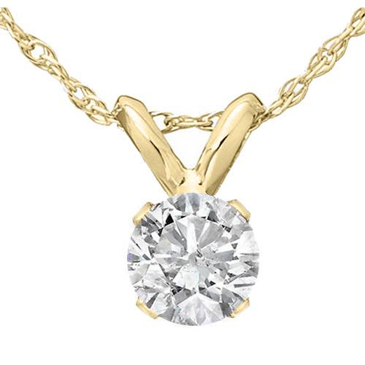 1 3 Ct Solitaire Round Diamond Pendant Necklace 18 14k Yellow Gold