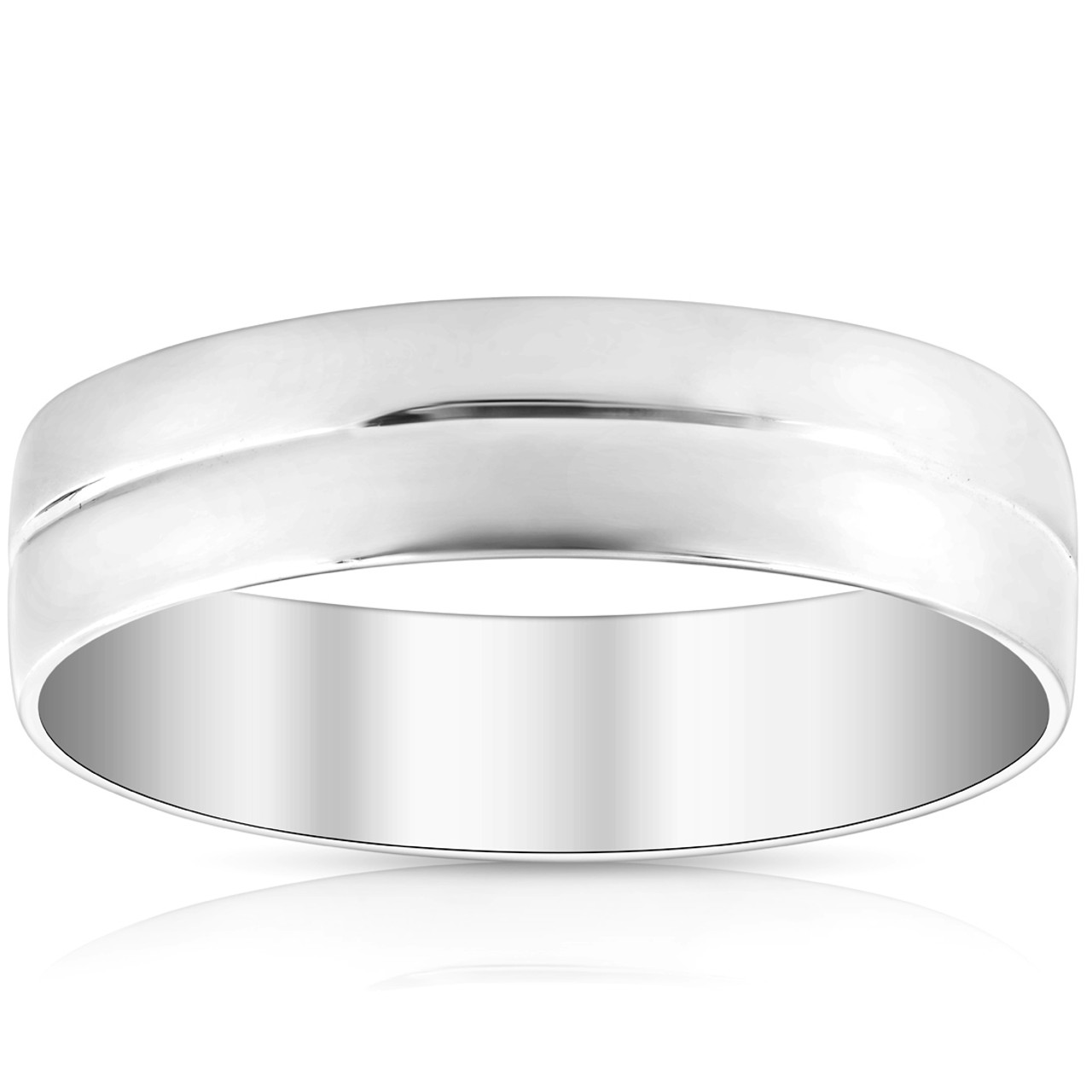Mens 10k White Gold 6mm Polished Dome Carved Wedding Band