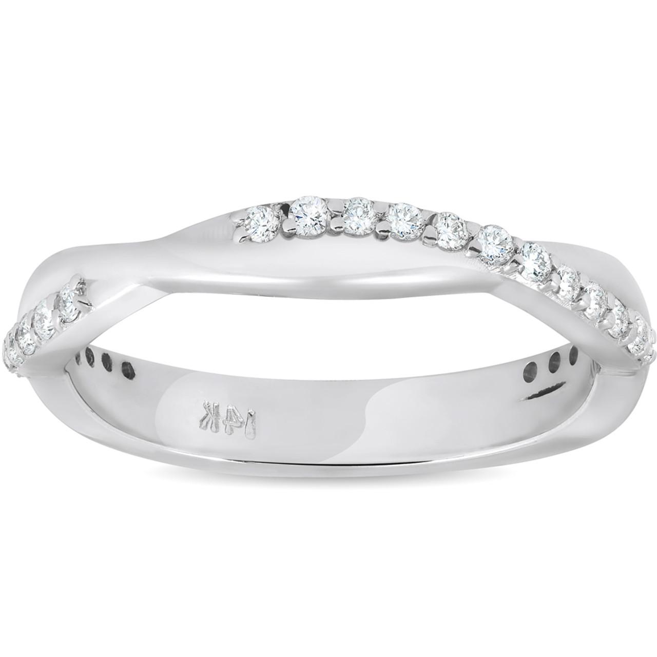 Womens Wedding Rings.1 4 Ct Diamond Twisted Vine Womens Wedding Ring 14k White Gold H I I1 I2