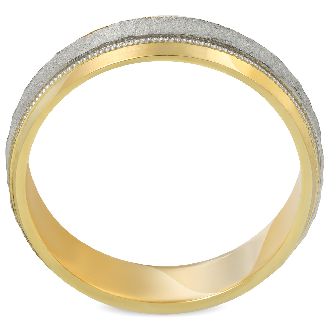 ddb1ec75df5a3 Platinum & 18k Yellow Gold 6MM Sandblast Brushed Mens Wedding Band