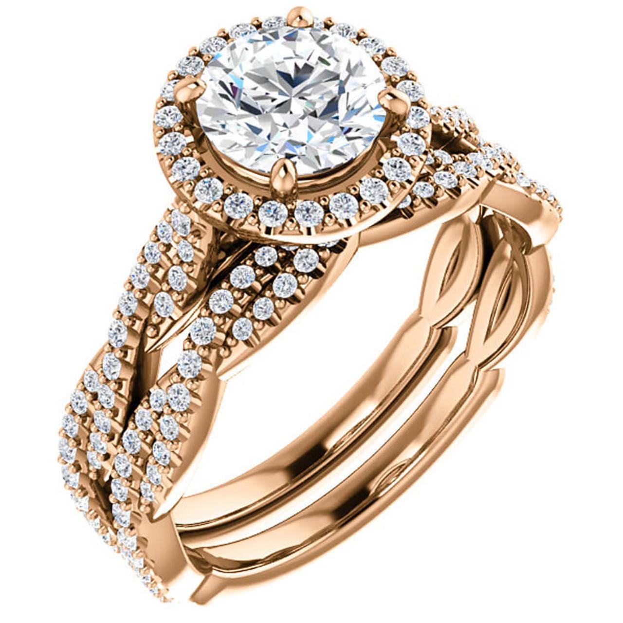 1 1 2ct Diamond Halo Vine Engagement Wedding Ring Set 14k Rose Gold