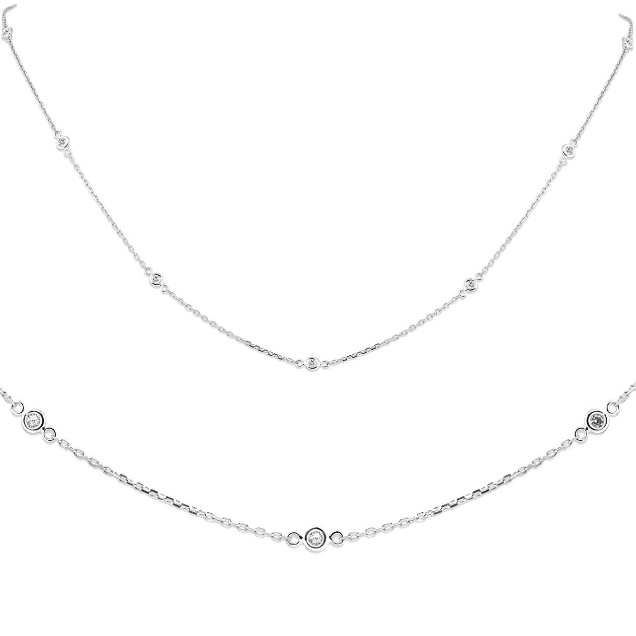 3 4 5 Bezel Diamond Necklace 14K or 18K Solid Gold Diamond By The Yard Station Necklace Diamond Wedding Solitaire Necklace for Her 1 2