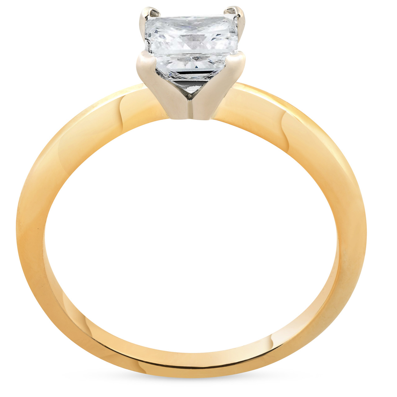 91e467748a457 1ct Princess Cut Diamond Solitaire 14k Yellow Gold Engagement Ring (H/I,  SI(1)-SI(2))