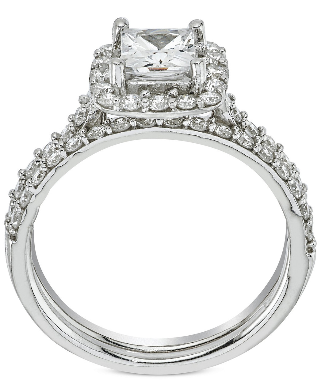 2 ct Princess Cut Halo Diamond Engagement Ring Wedding Set ...