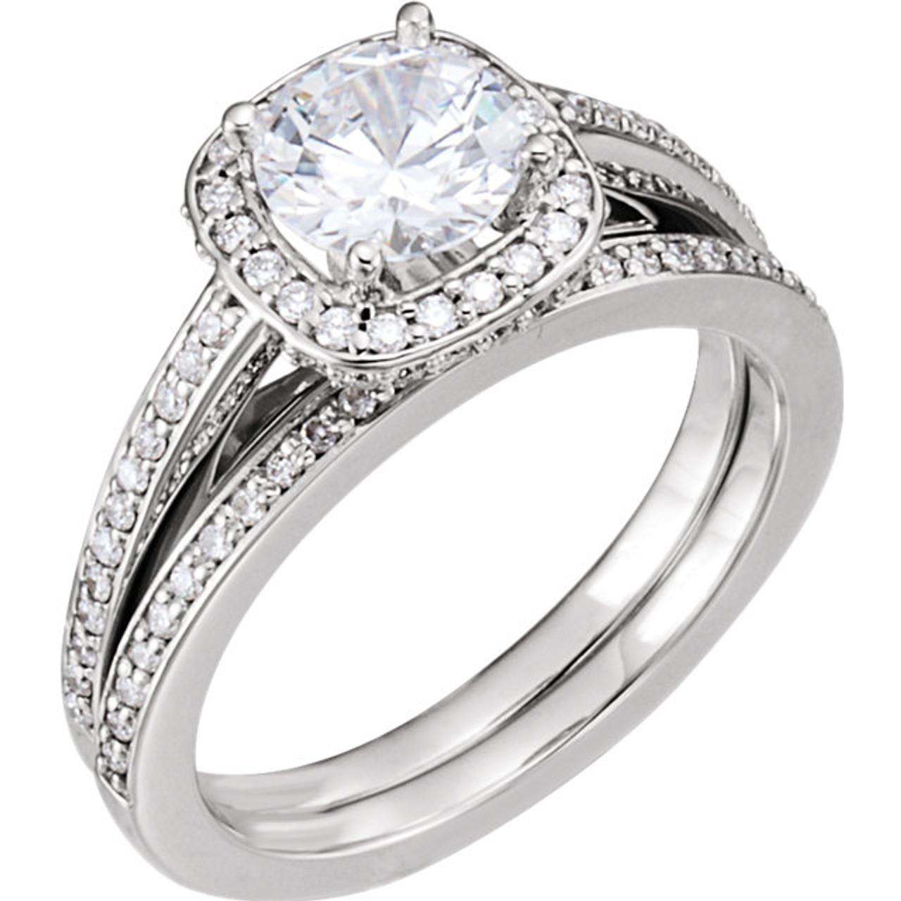 1 3 8ct Diamond Cushion Halo Engagement Wedding Ring Set 14k White Gold