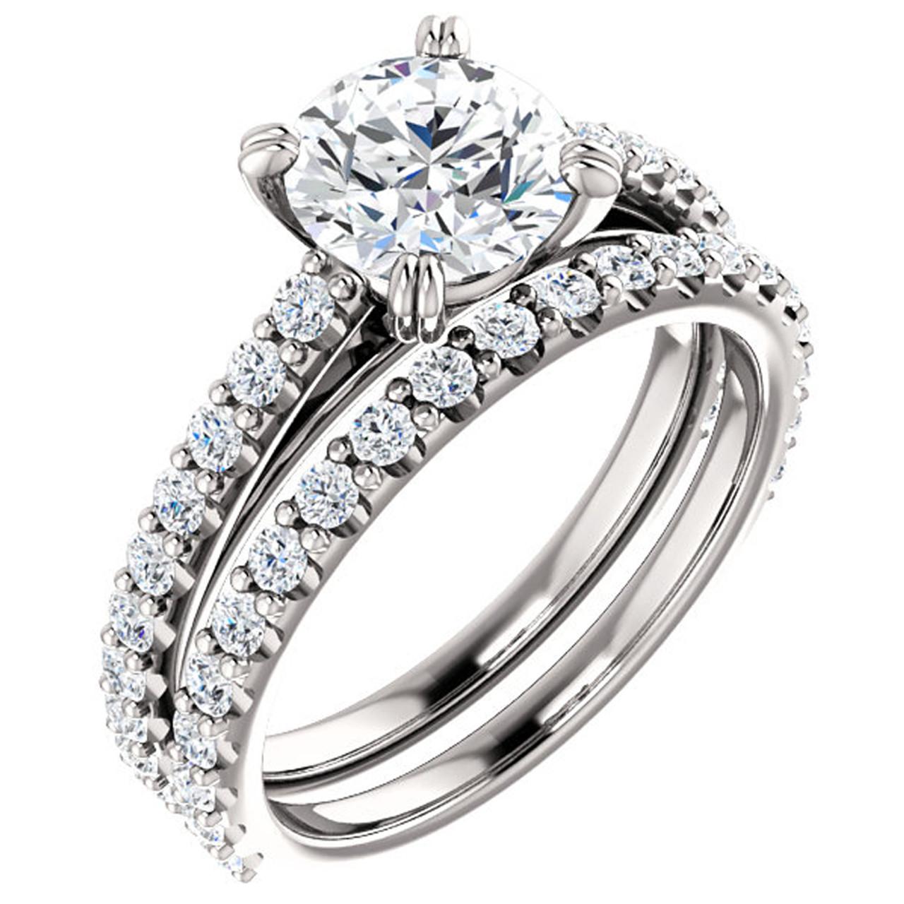 G Si 2 Ct Diamond Engagement Wedding Ring Set White Gold Enhanced