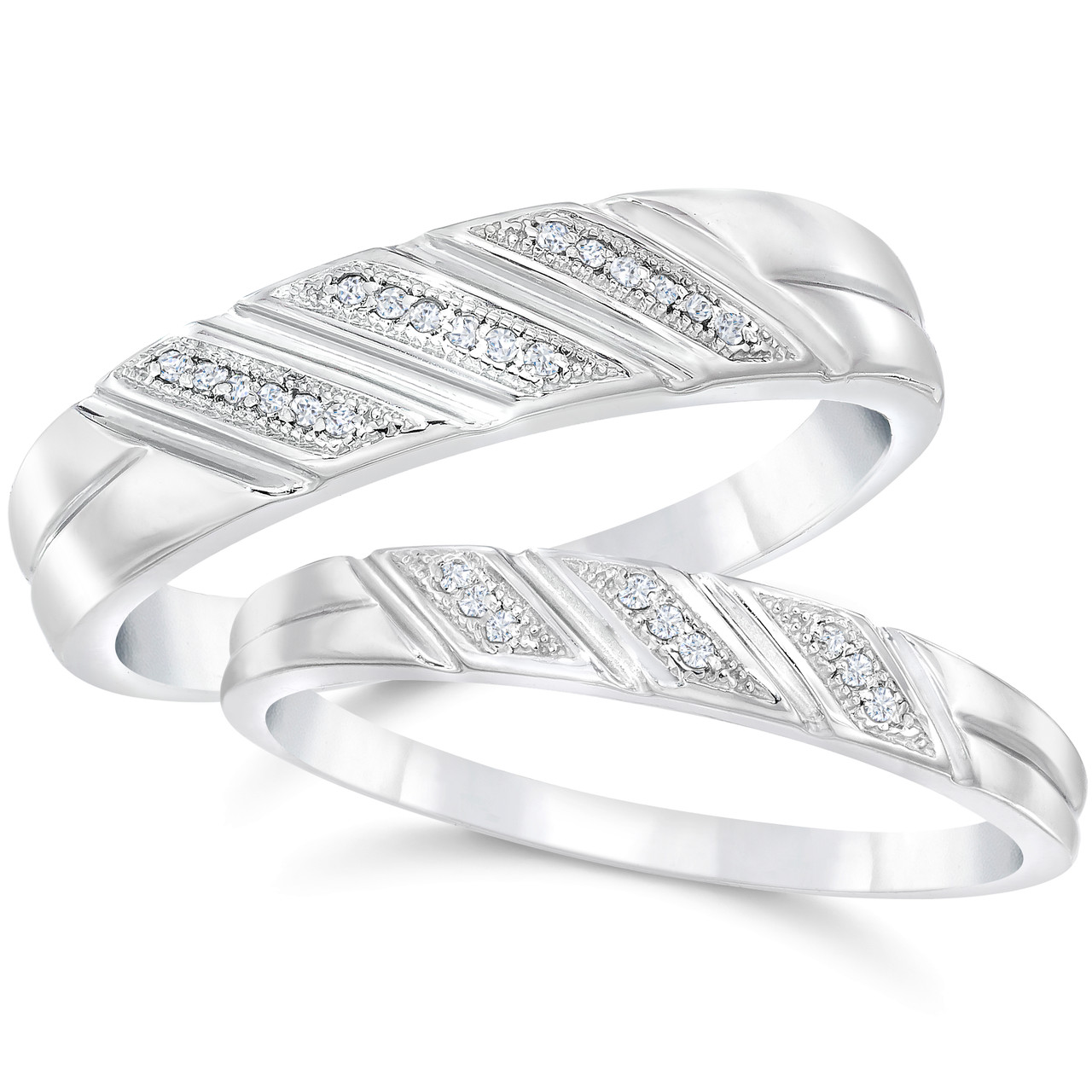 His And Her Wedding Bands.Diamond Wedding Rings Set 1 5cttw Matching His Hers Bands 10k White Gold H I I1 I2