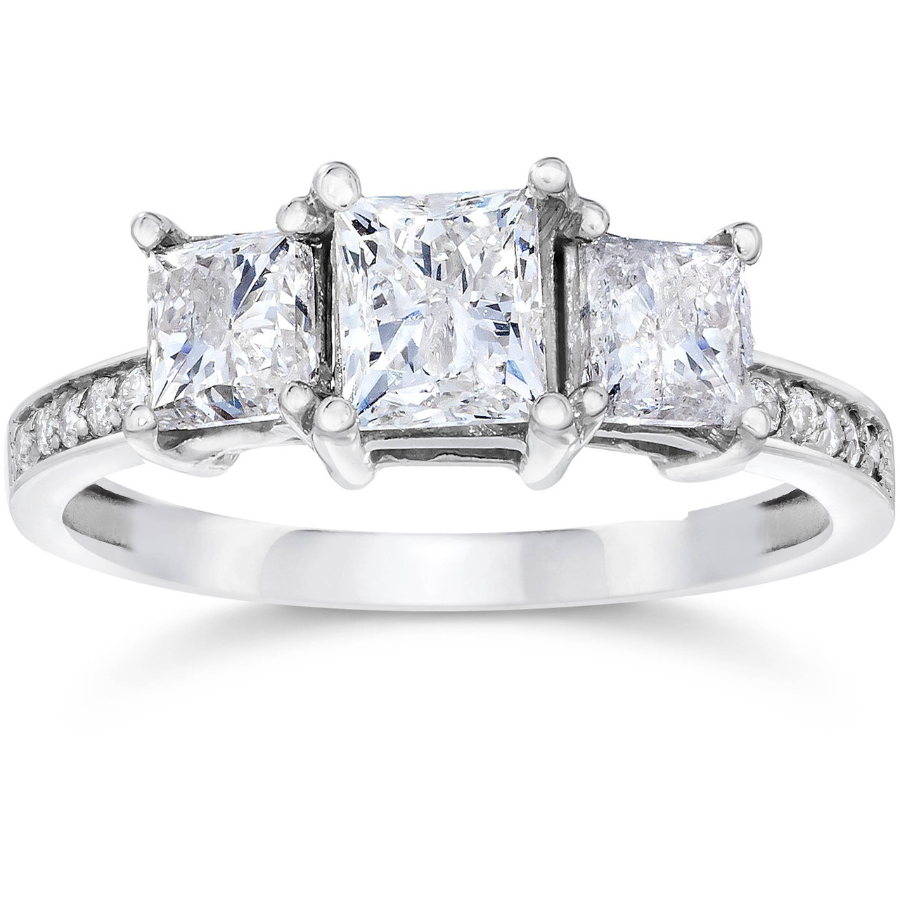 2ct Three Stone Princess Cut Diamond Engagement Ring 14k White Gold