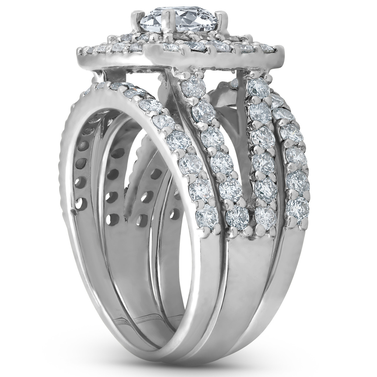14K Solid 3.00 Ct White Gold Round cut Man made diamond Engagement Ring All size