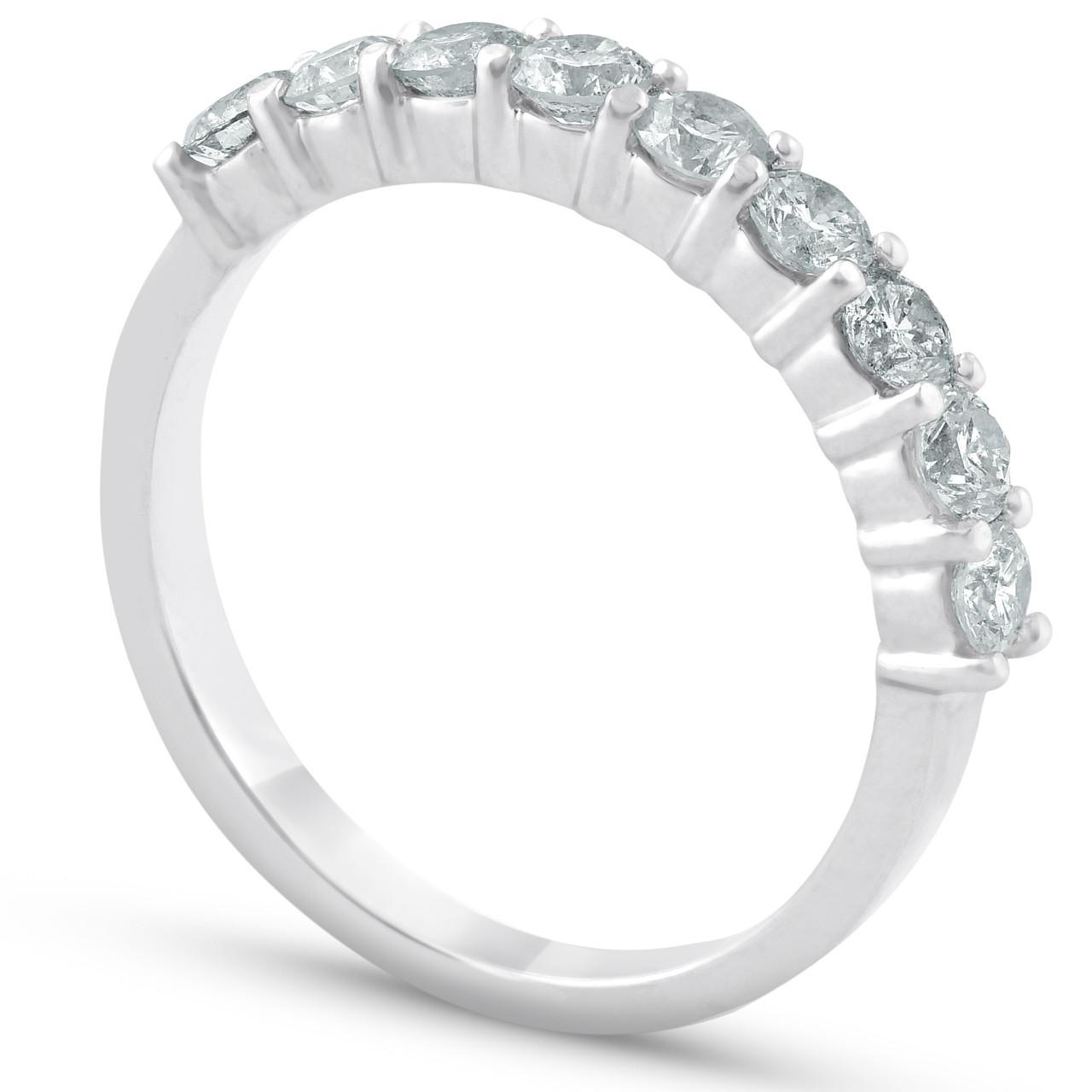 1 2ct Diamond 9 Stone Womens Wedding Ring 14k White Gold