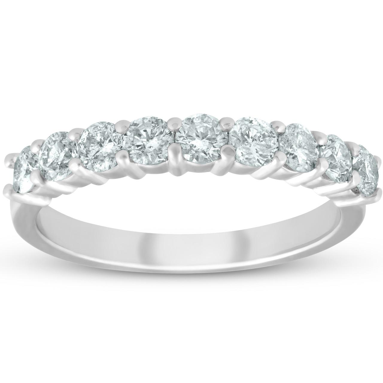 Womens Wedding Rings.1 2ct Diamond 9 Stone Womens Wedding Ring 14k White Gold G H Si 1 Si 2
