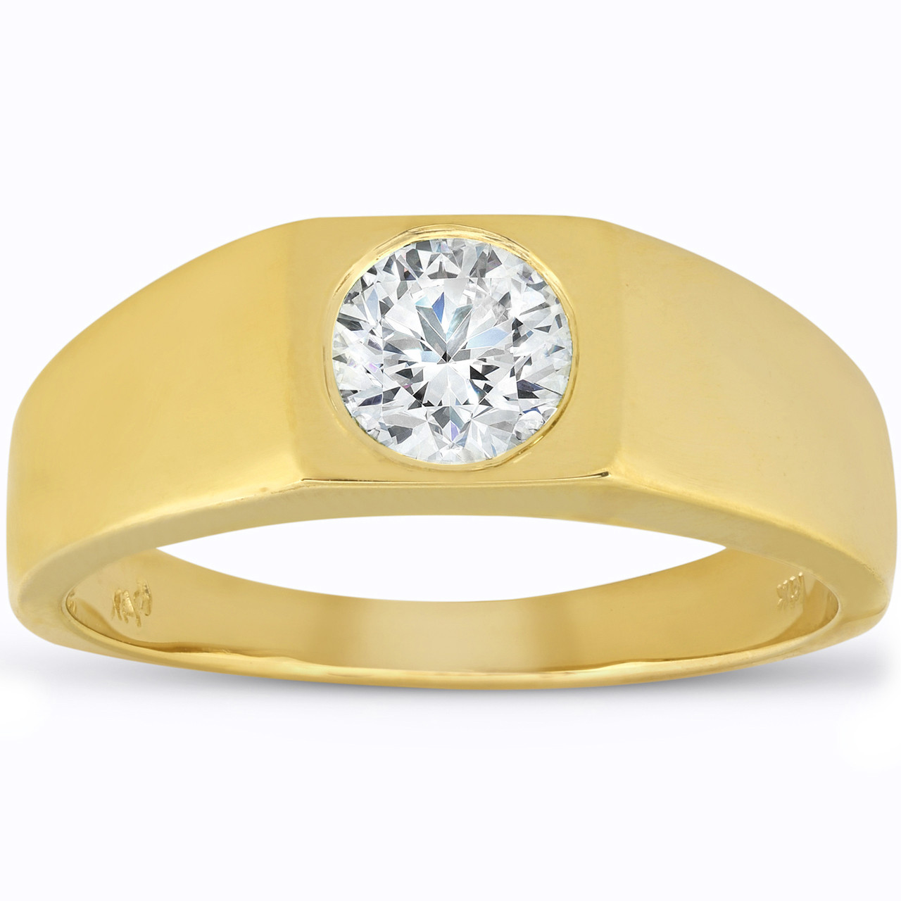26016eed312ed Mens 1 ct Round Solitaire Diamond Wedding Ring 14k Yellow Gold (G/H,  SI1-SI2)