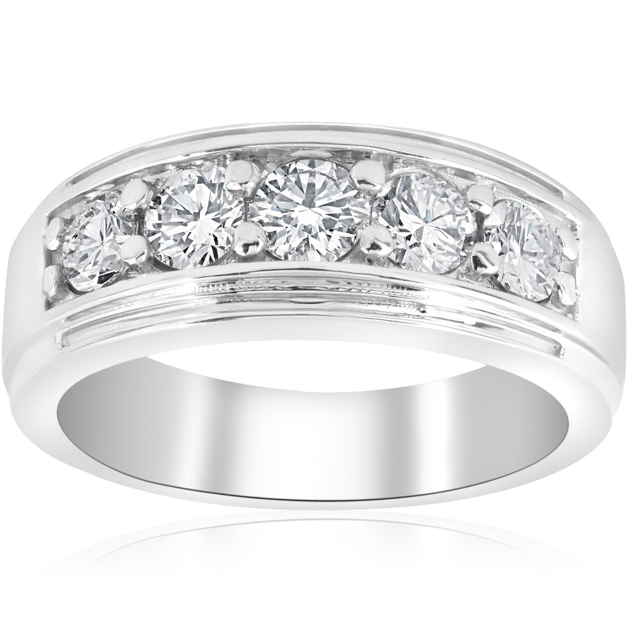 1 Ct Mens Diamond Five Stone Wedding Ring Platinum