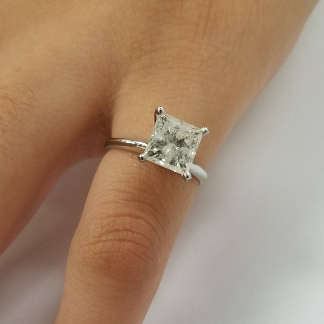1 1 2 Ct Princess Cut Diamond Solitaire Engagement Ring 14k White Gold G H Si 1 Si 2