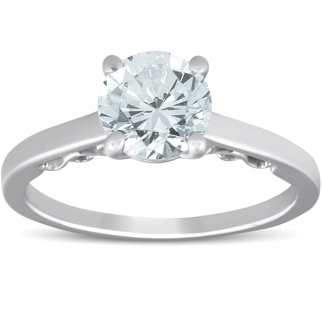 Engagement Rings Vs Wedding Bands: 1.52 Ct Diamond & CZ Center Engagement Solitaire Vintage