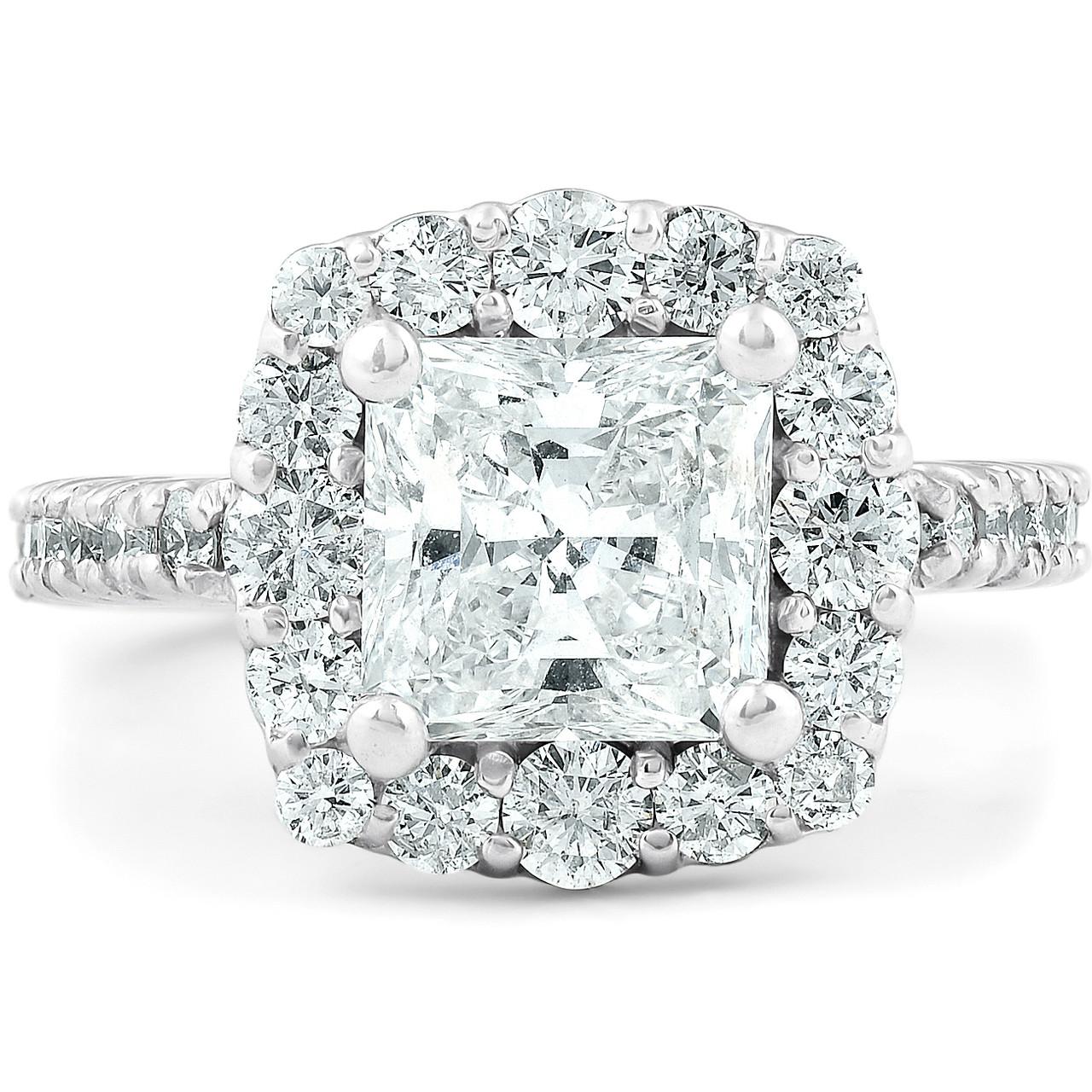 2 1 2 Ct Princess Cut Halo Diamond Engagement Ring 14k White Gold