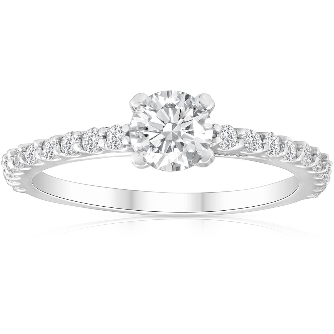 1 Ct Round Cut Diamond Engagement Ring Single Row 14k White Gold