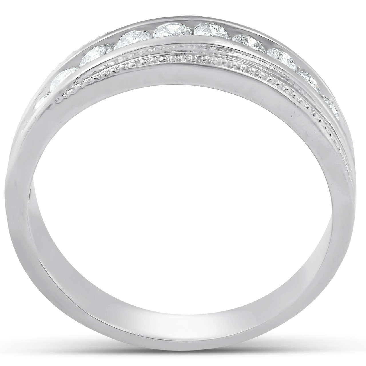 f8c894e332c16 1/2 Ct Mens Diamond Wedding Ring With Bead Accent High Polished 10k White  Gold (H, I1-I2)