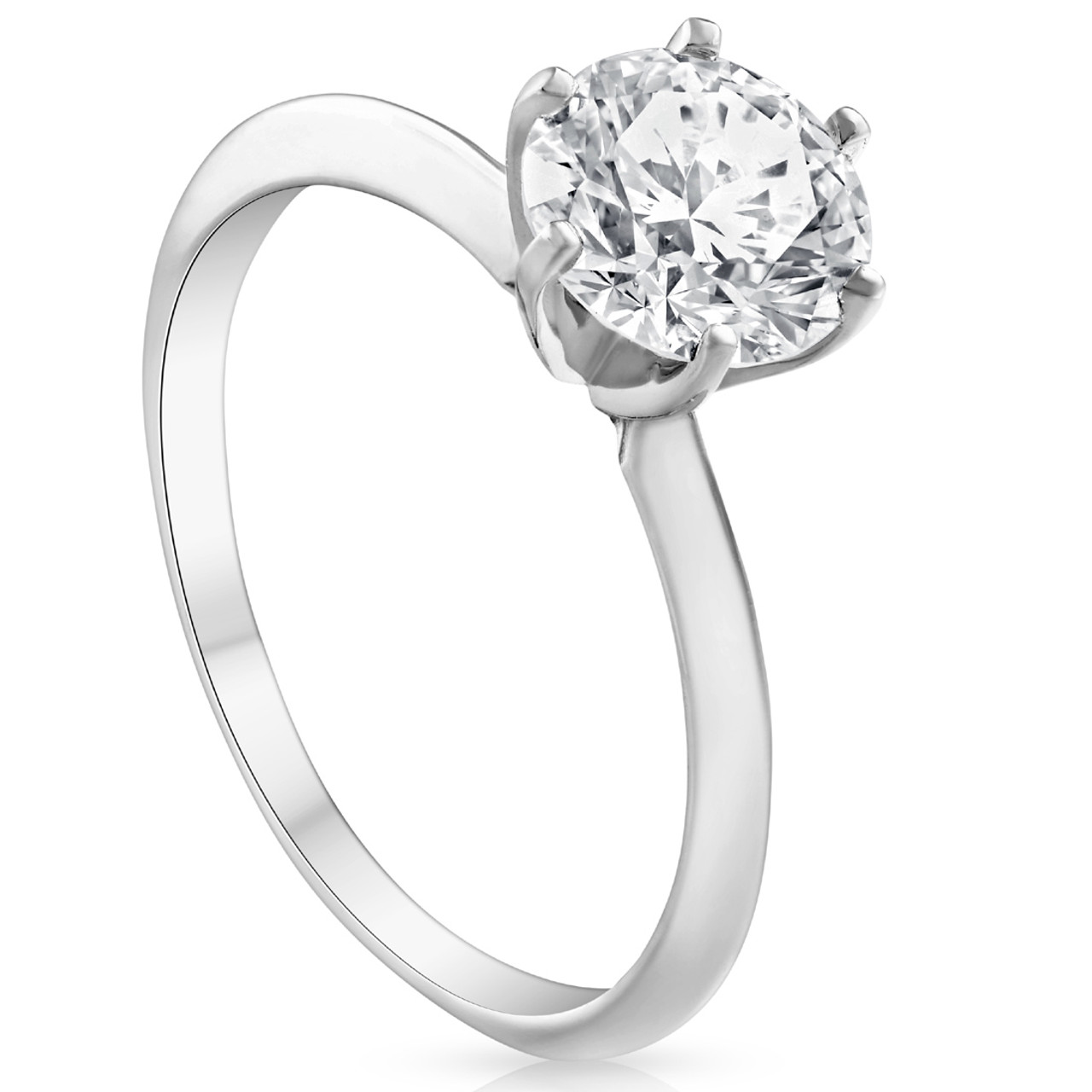 1 Ct Round Cut Diamond Solitaire Engagement Ring 14k White Gold Enhanced Jewelry Watches Engagement Wedding
