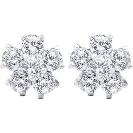2 3/4 Ct Diamond Star Burst Studs Womens Earrings 14k White Gold (H, I2)