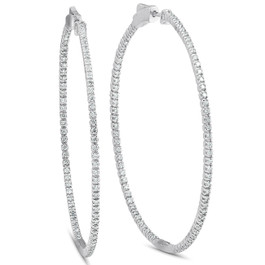 "1 1/5 Ct Diamond Inside Outside Hoops 14k White Gold Vault Lock 2"" Tall (G/H, SI)"