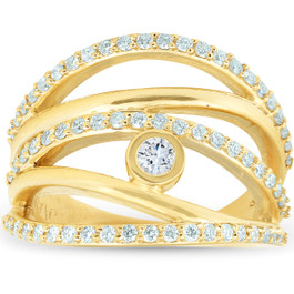 3/4 Ct Diamond Multi Row Diamond Ring 10k Yellow Gold Womens Right Hand (I/J, I2-I3)