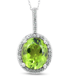 5 1/3 Ct Diamond Oval Peridot Pendant 14k White Gold (G/H, I1)