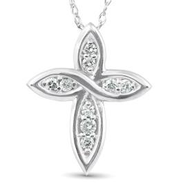 "1/10 Ct Diamond Cross 14k White Gold 5/8"" Tall (G/H, I1)"