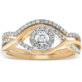 1/2CT Diamond Engagement Wedding Ring Set Halo 10k Yellow Gold Lab Created (H, I1-I2)