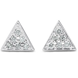 G/VS 14k White Gold Triangle Pave .12Ct Diamond Delicate Studs Womens Earrings (G/H, VS)
