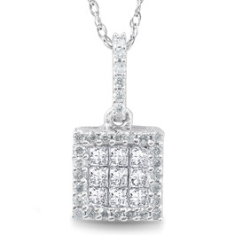 "3/8 cttw Princess Cut Pave Diamond Halo Pendant 10K White Gold 3/4"" Tall (JK, I2-I3)"