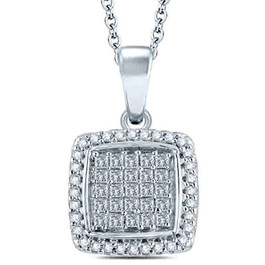 "3/4 cttw Princess Cut Pave Diamond Halo Pendant 10K White Gold 1"" Tall (JK, I2-I3)"
