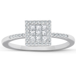 3/8 Ct Princess Cut Diamond Halo Engagement Ring 10k White Gold (I/J, I2-I3)