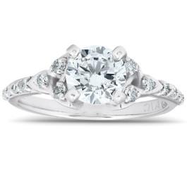 1 Ct Diamond Engagement Ring Celtic Triangle 14k White Gold (I/J, I2-I3)