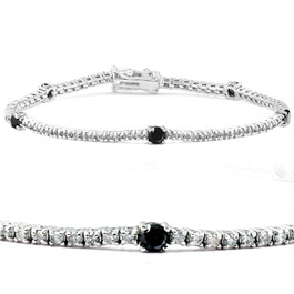 "2 Ct Black & White Diamond Tennis Bracelet 14k White Gold 7"" (G/H, I1)"