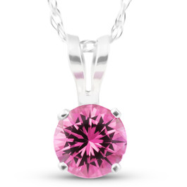 """Solitaire 1/2 ct Pink Sapphire Pendant 14k White Gold Womens 18"""" Necklace (Pink, )"""