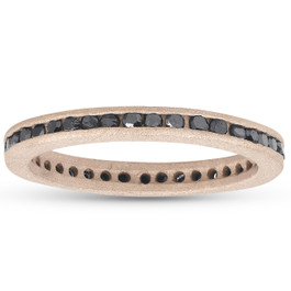 1/2ct Black Diamond Channel Set Brushed Finish Eternity Ring 14K Rose Gold (Black, )