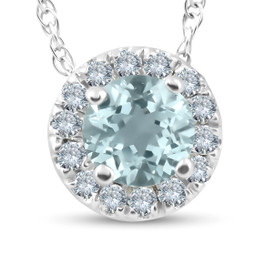 3/4ct Round Diamond & Aquamarine Halo Solitaire Pendant Necklace 14k White Gold (G/H, I2)
