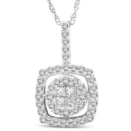 "3/8 cttw Princess Cut Pave Diamond Halo Womens Pendant 10K White Gold 3/4"" Tall (JK, I2-I3)"