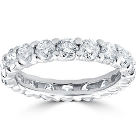 3Ct Diamond Eternity Wedding Ring Lab Grown Diamonds 14k White Gold (F, VS/SI)
